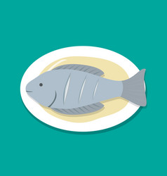 top view steamed fish on white plate vector image vector image