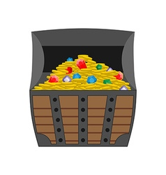 Treasure chest Gold and precious stones in open vector image vector image