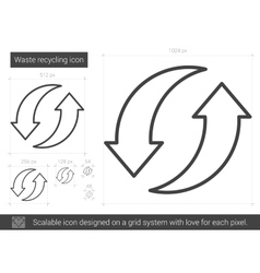 Waste recycling line icon vector