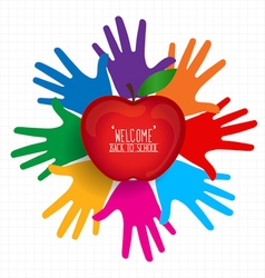 Welcome back to school with hands and apple vector