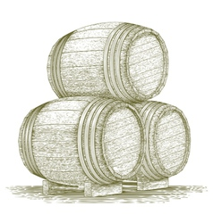 Woodcut whiskey barrel stack vector