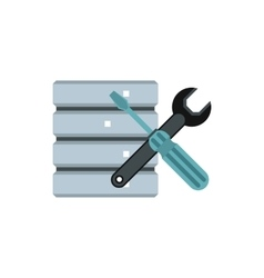 Database with screwdriver and spanner icon vector