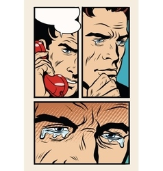 Comic storyboard man on the phone and cries vector