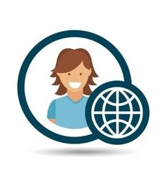 Character girl globe social media concept vector