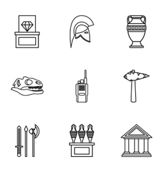 Historical museum icons set outline style vector