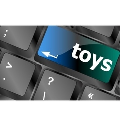Toys word on computer keyboard pc key vector