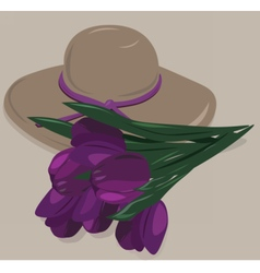 Tulip flowers and hat vector