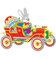 Easter bunny in its retro car vector
