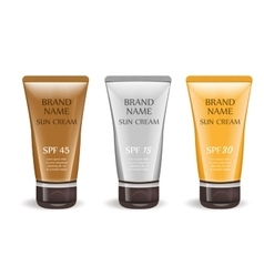 Sunscreen cream realistic package set isolated on vector