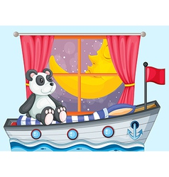 A panda sitting above the boat beside a window vector