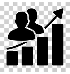 Audience growth bar chart icon vector