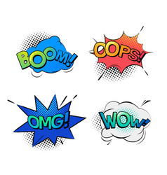 Bubble speeches for wow and omg oops and boom vector