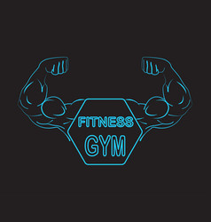 Strong power muscle arms with frame and text vector