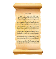old textured scroll with musical composition sheet vector image