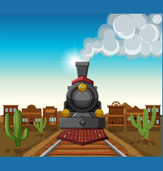 Train ride in desert town vector