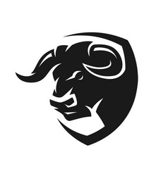 head of a bull monochrome logo vector image