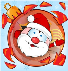 Funny santa claus on christmas ball cartoon vector