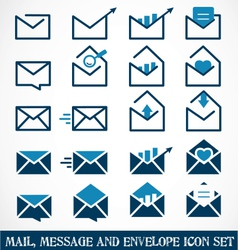 Mail message and envelope icon set vector