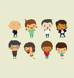 Cute cartoon boys and girls set2 clip art vector