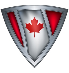 Steel shield with flag canada vector
