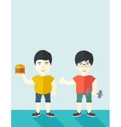 Men standing with hamburger and dumbbell vector