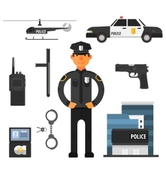 Policeman police department flat style elements vector