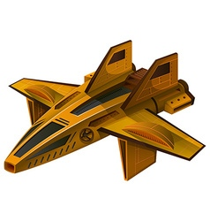 Yellow spaceship with wings vector