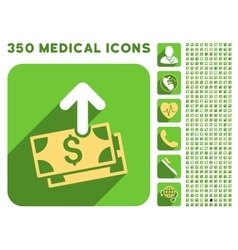 Spend money icon and medical longshadow icon set vector