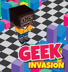 Geek boy invasion video game asset isometric vector