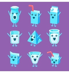 Milk container character set vector