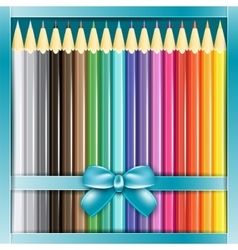 Present box of pencils with ribbon vector