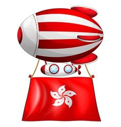 An air balloon with the flag of hongkong vector