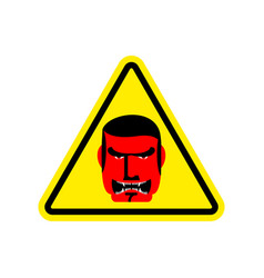 Angry boss warning sign yellow evil head hazard vector