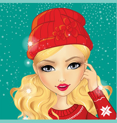 Avatar girl in red hat vector