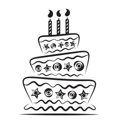 Birthday cake on white background vector image