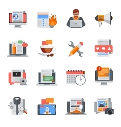 Blogging flat icons set vector