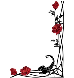 Border with roses and scorpion vector