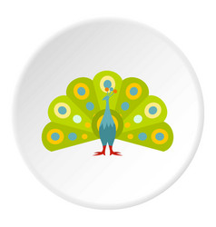 Colorful peacock icon circle vector