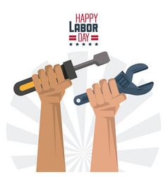 colorful poster of happy labor day with hands with vector image vector image