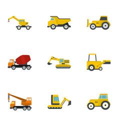 construction heavy vehicle icon set flat style vector image