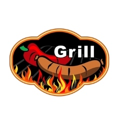 Grill label design vector image vector image