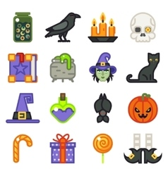 Halloween witch magic icons set isolated flat vector image vector image