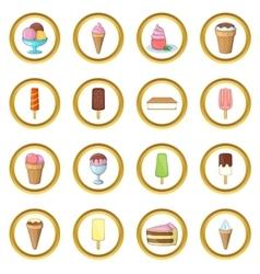 Ice cream set cartoon style vector