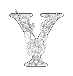 Letter Y coloring book for adults vector image vector image