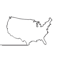 map of usa continous line vector image