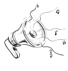 Megaphone sketch icon vector