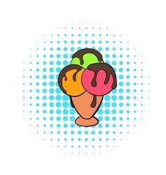 Mixed ice cream scoops in cone icon comics style vector