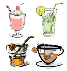 Non alcoholic drinks collection vector image vector image