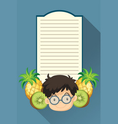 paper template with boy and fruits vector image vector image