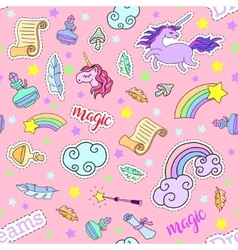 Seamless pattern with unicorns rainbow stars vector